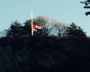 Flags at half mast at Brocton Point (Photo courtesy of Lesley Rigby)